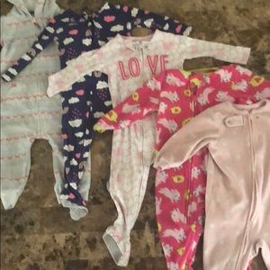 Other - Onesie Pajama Lot 5 pieces 12 month toddler girl